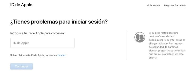 Web Apple para activar tu ID desactivada