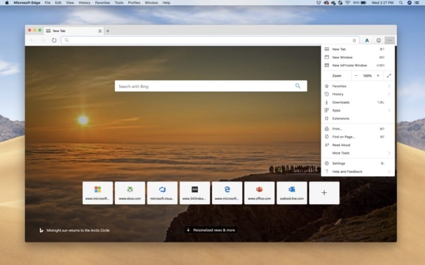 Interfaz Microsoft Edge