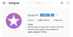 Perfil de iTunes en Instagram vacío