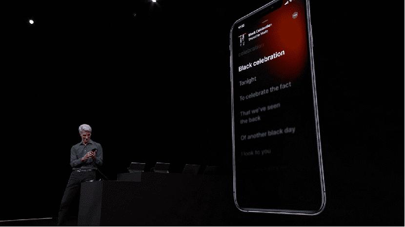 Letras de canciones en iOS 13