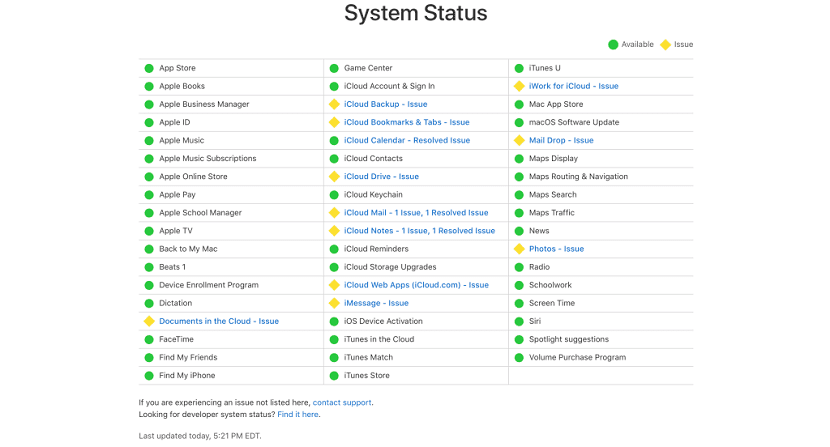 Problemas servidores iCloud