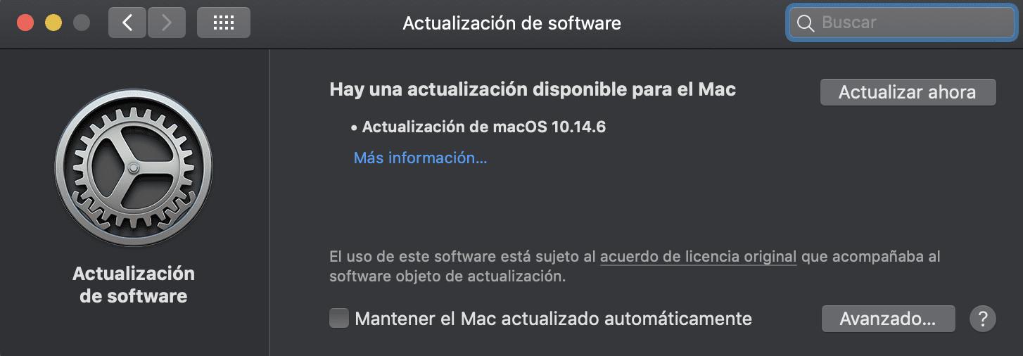 Actualización MacOS Mojave 10.14.6