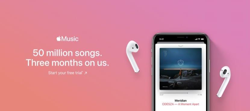 Banner con suscripción a Apple Music por un mes
