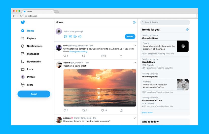 Nueva interfaz web de Twitter