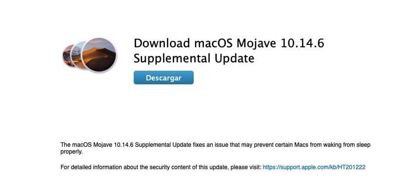 Actualización complementaria macOS Mojave 10.14.16