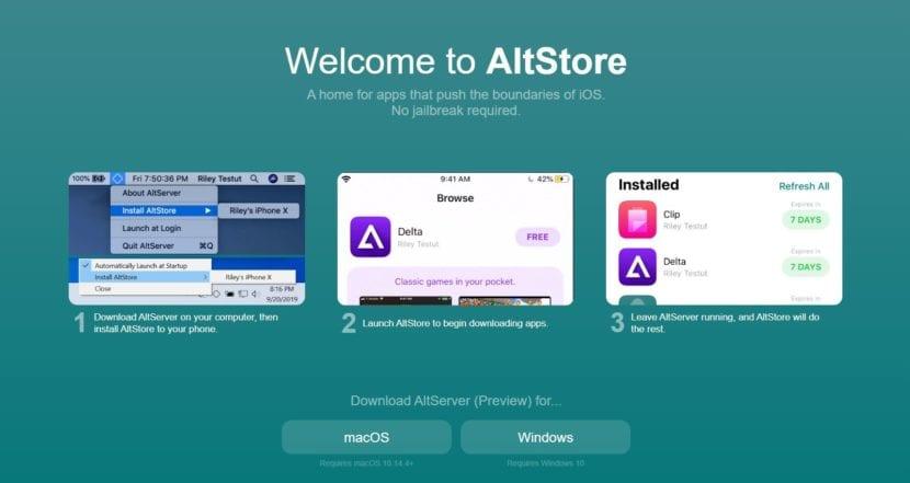 página Web principal de AltServer