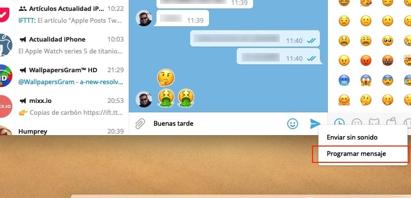 Programar envío mensajes Telegram Desktop