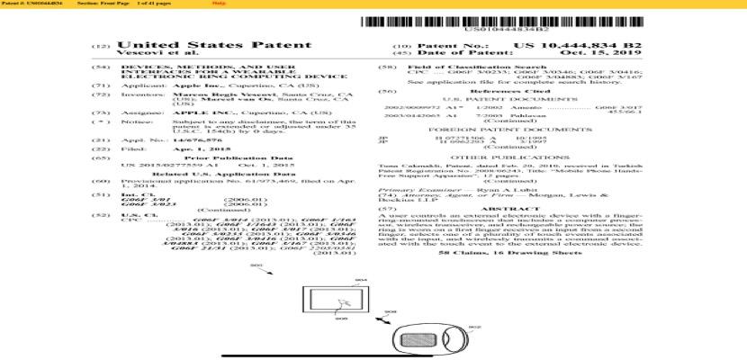Apple presentó una patente para la fabricación y venta de un nuevo dispositivo electrónico en forma de anillo