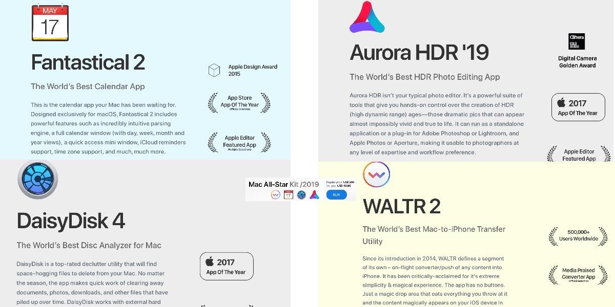 Kit de 4 aplicaciones para Mac con descuento