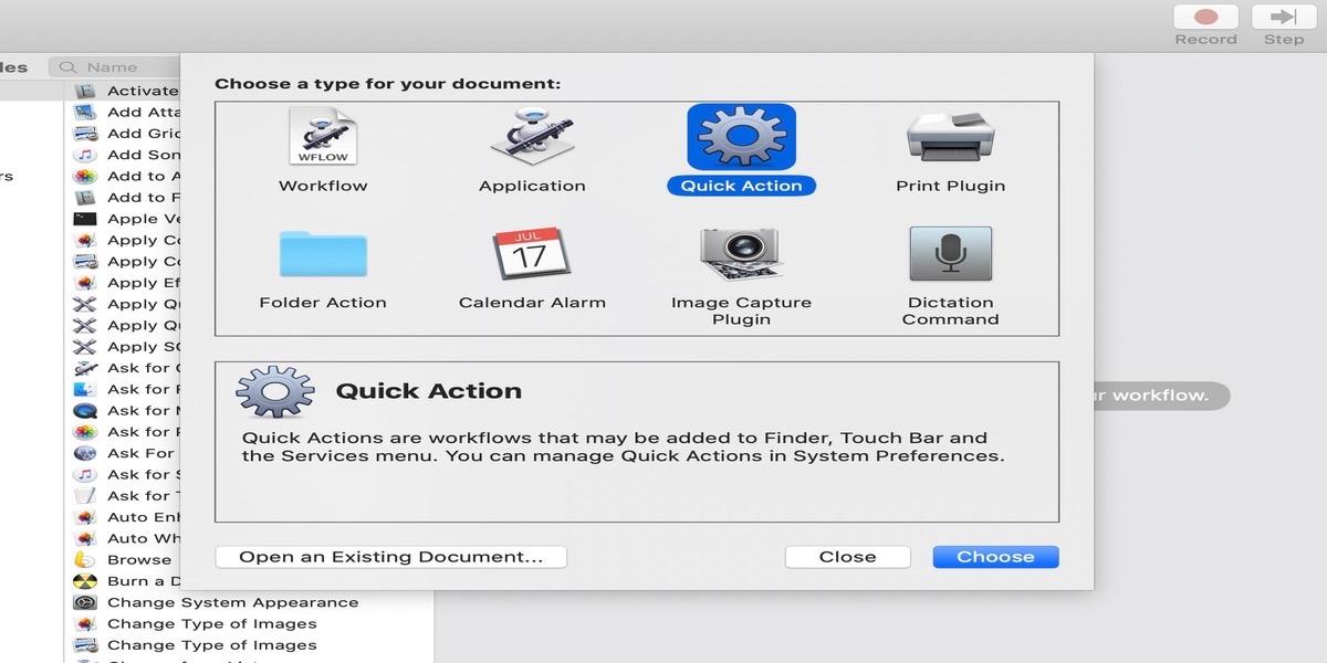 Acción rápida en Automator para modificar la Touch Bar