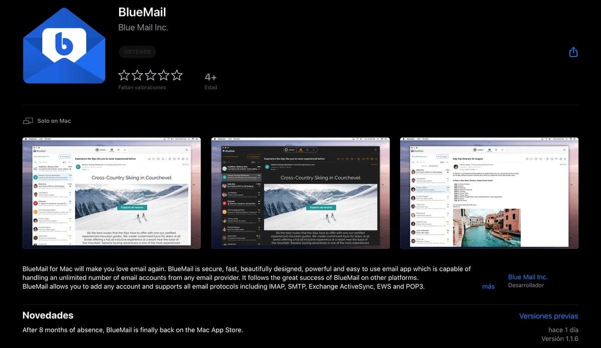 BlueMail vuelve a la Mac App Store