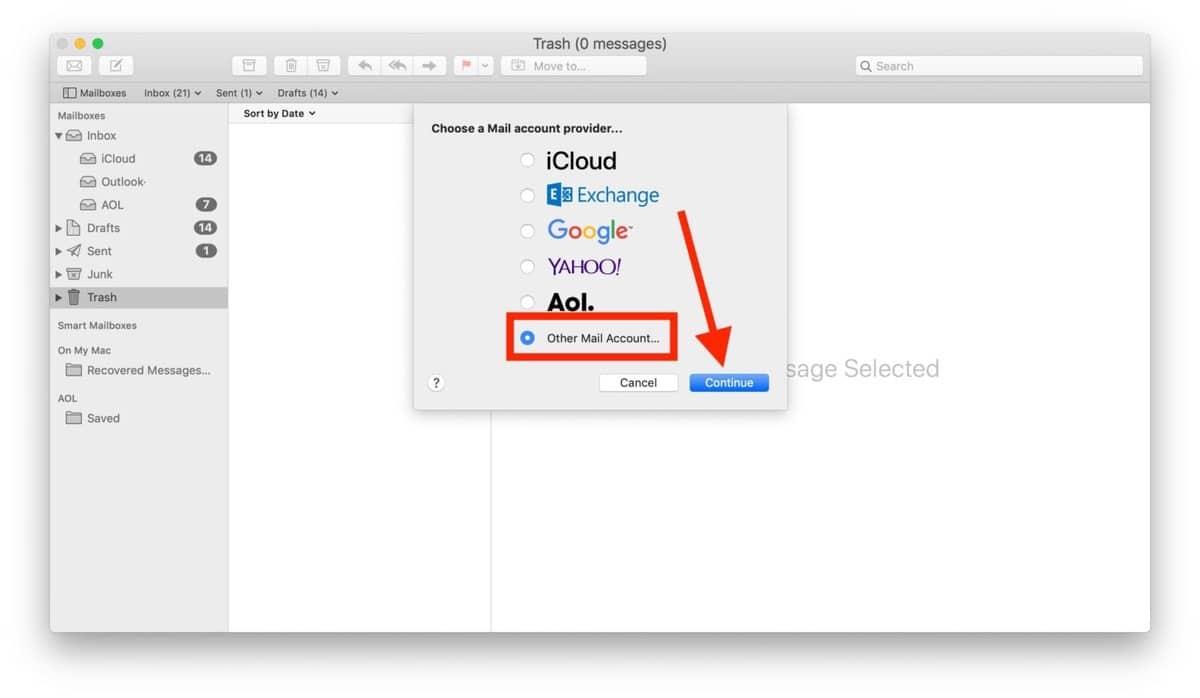 Outlook no aparece como opción predererminada
