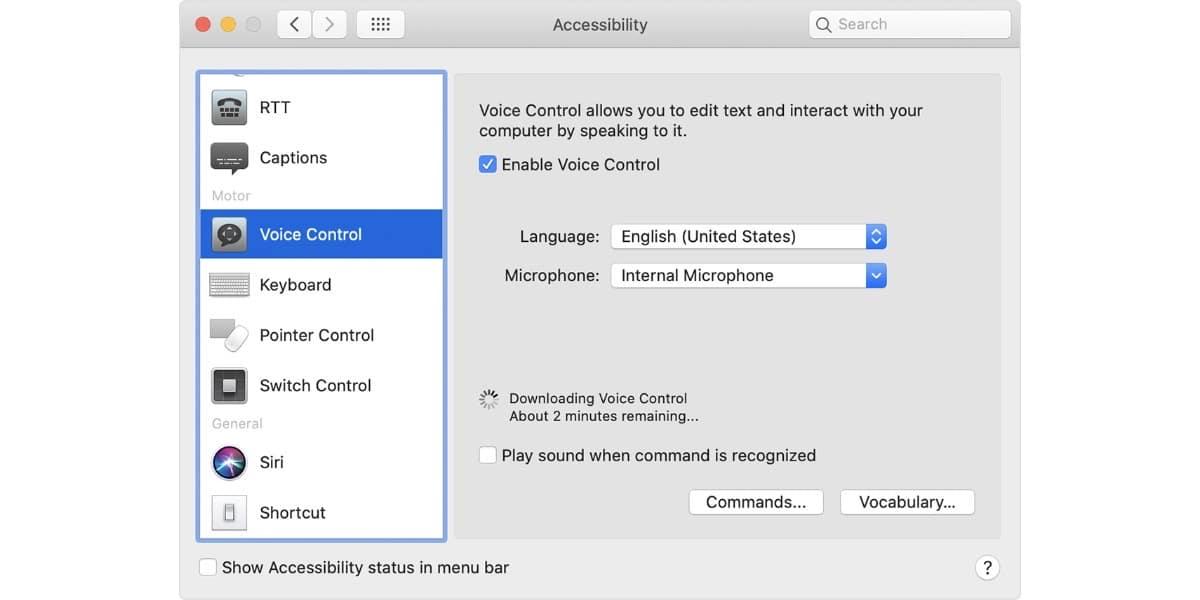 Usa el control por voz en Mac
