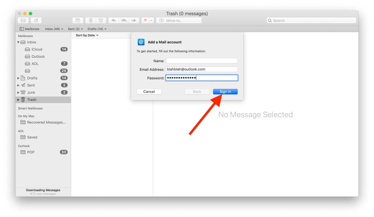 En el proceso de configuración de Outlook en el Mac debemos elegir otras cuentas