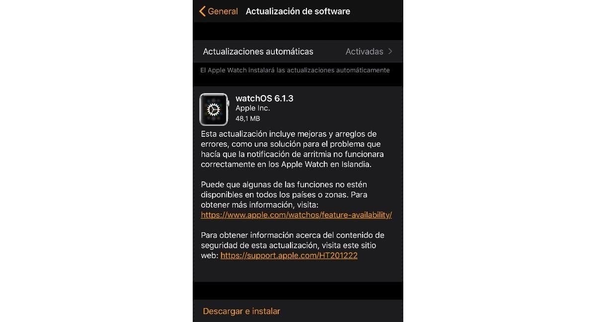WatchOS 6.1.3 corrige problemas con el ritmo cardiaco