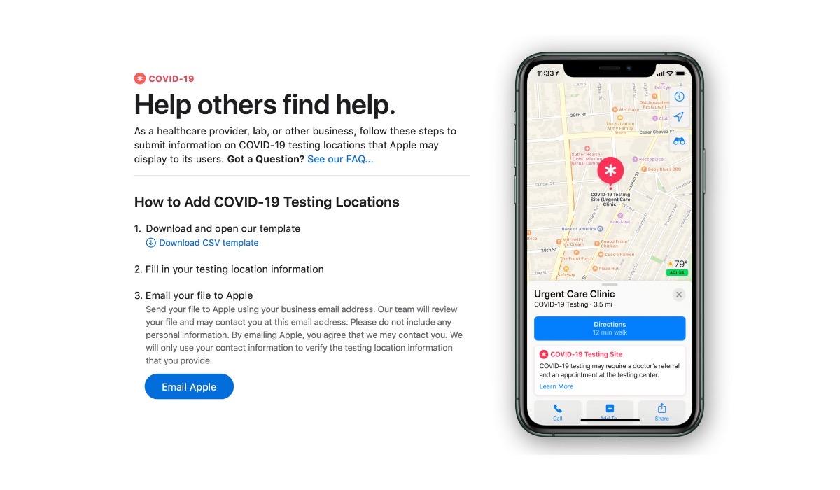 Apple Maps se actualizará para mostrar lugares donde se realicen test COVID-19