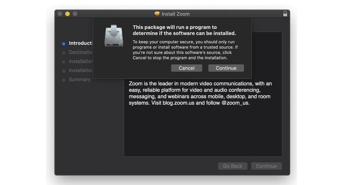 Problema de instalación de Zoom en Mac