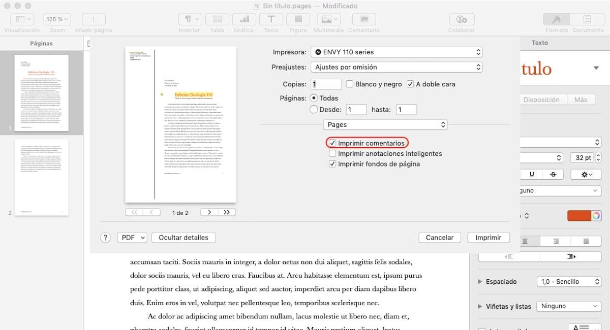 Cómo imprimir los comentarios en Pages