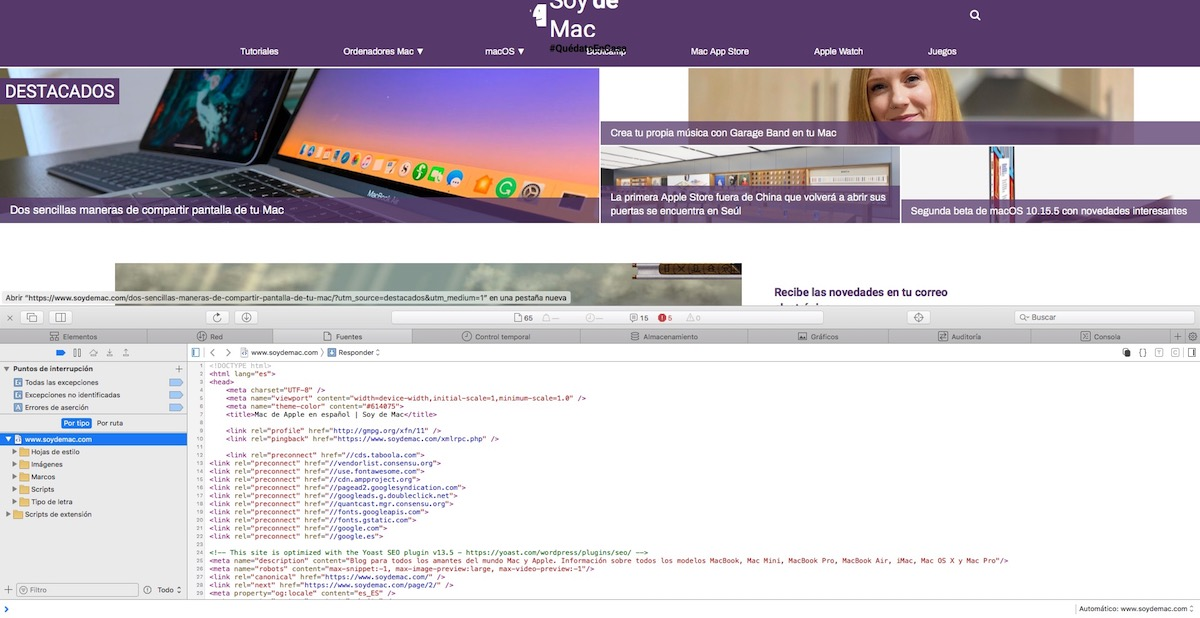 Ver código fuente web en Safari