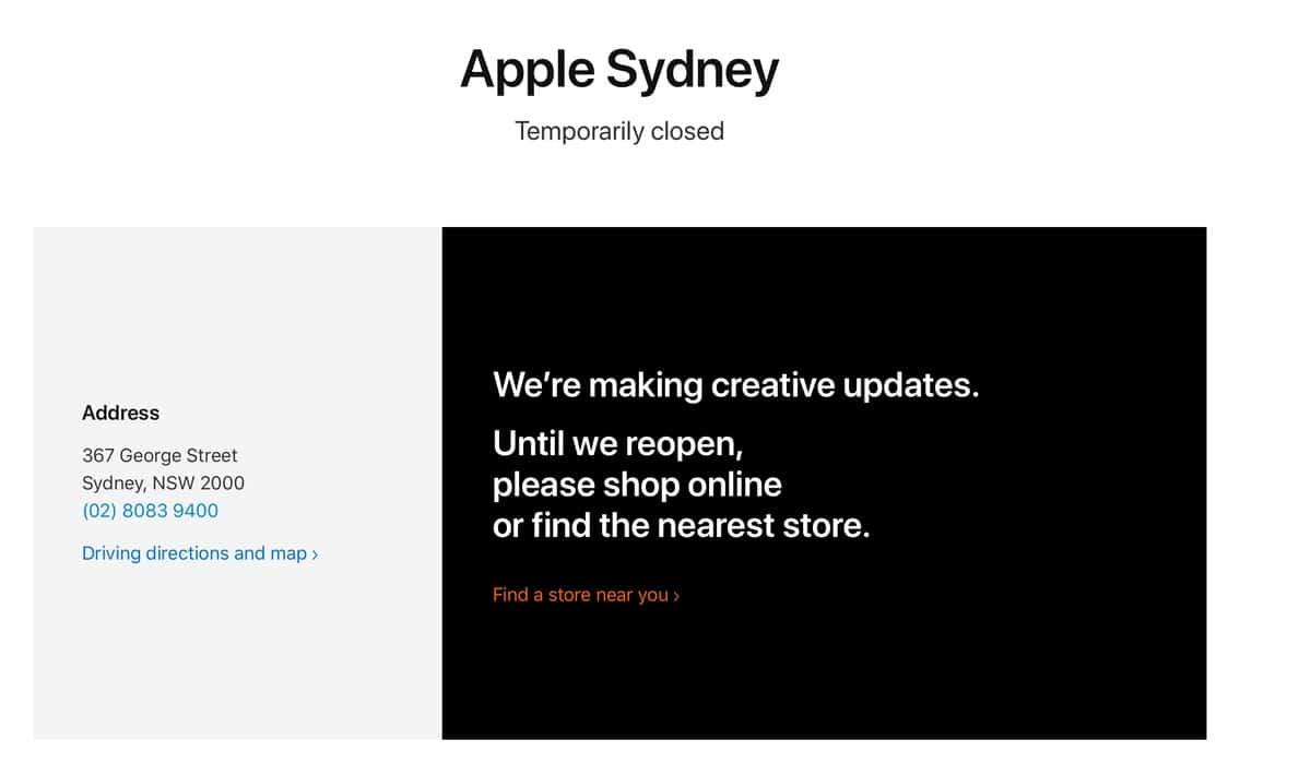 La Apple Store de Sidney no reabrirá el jueves