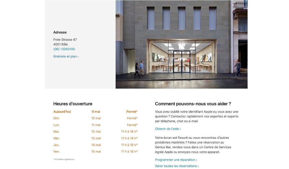 Las Apple Store de Suiza abrirán el martes día 12