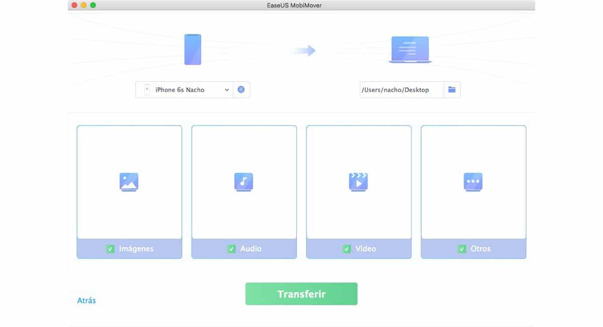 EasyUS MobiMover - Transferir información de un iPhone/iPad/iPod touch a un Mac
