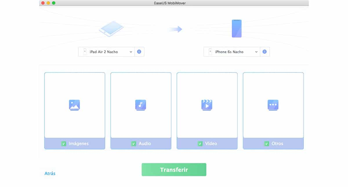 EasyUS MobiMover - Transferir datos de un iPhone/iPad/iPod touch a otro dispositivo iOS
