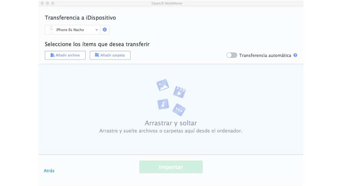 EasyUS MobiMover - Transferir información de un Mac a un iPhone/iPad/iPod touch