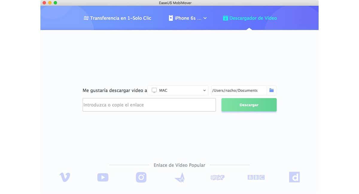 EasyUS MobiMover - Descargar vídeos de internet