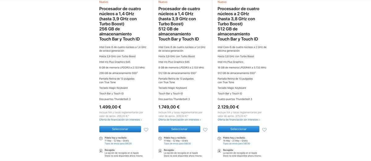 Envíos MacBook Pro