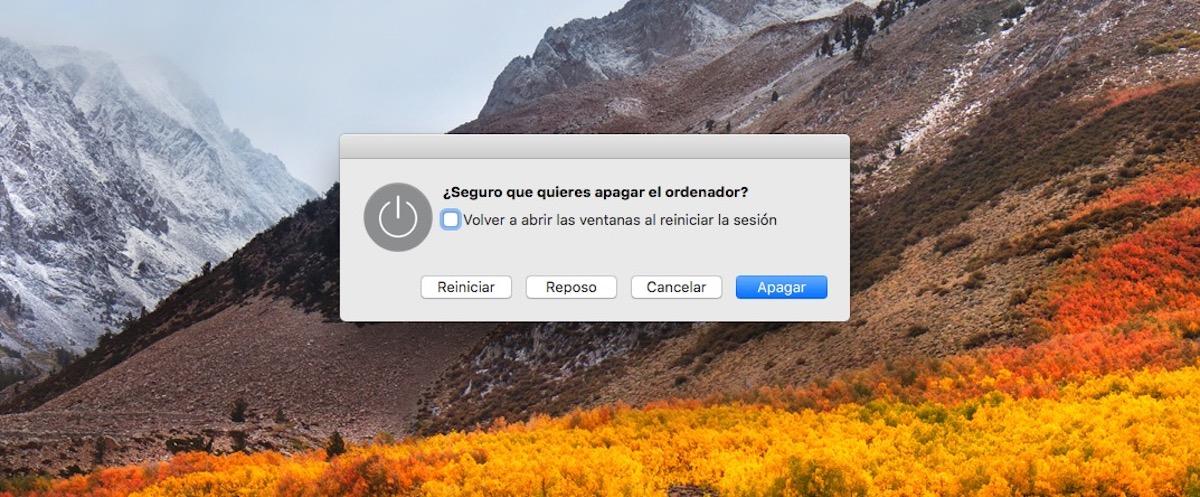 Apagar, reiniciar o suspender Mac con atajo teclado