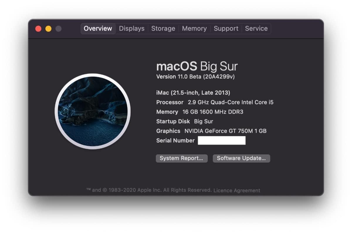 La beta de macOS Big Sur en un modelo no compatible oficialmente