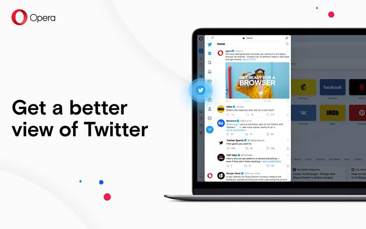 Opera añade acceso a Twitter en su nueva versión