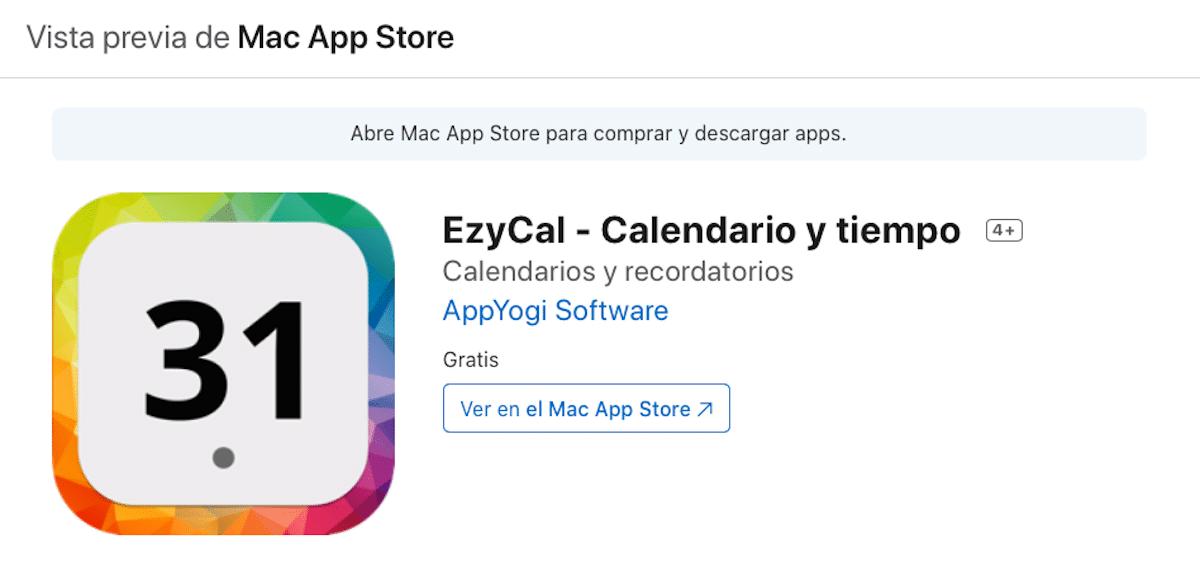 EzyCal - Calendario barra superior menús