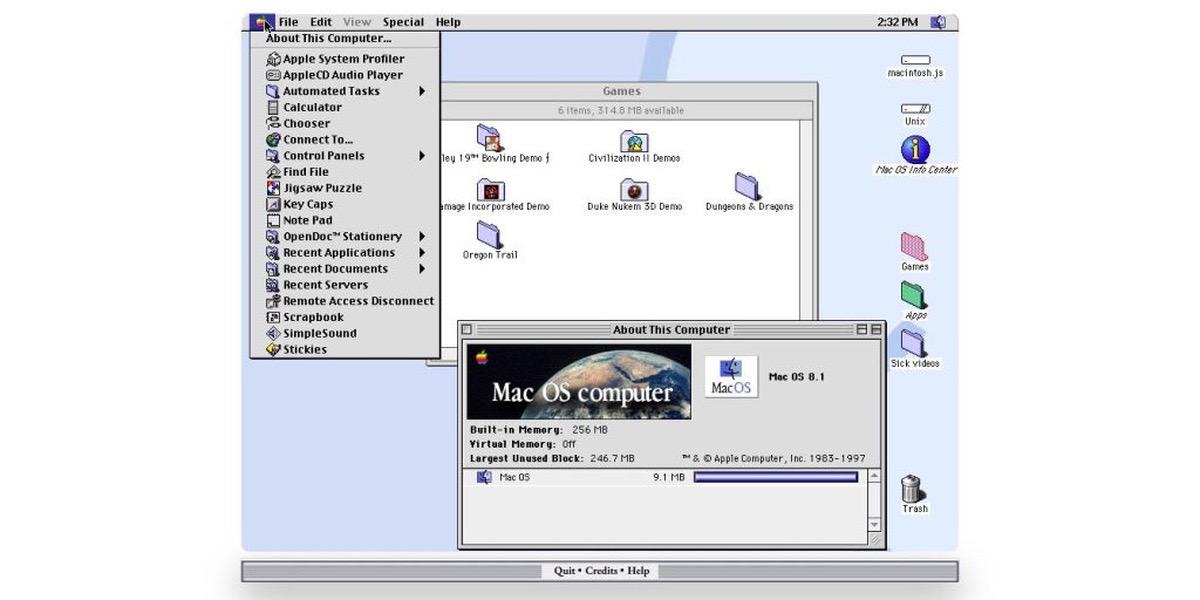 Mac OS 8 neón un ordenador Macintosh de 1991