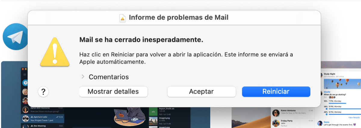 Error mail macOS Big Sur