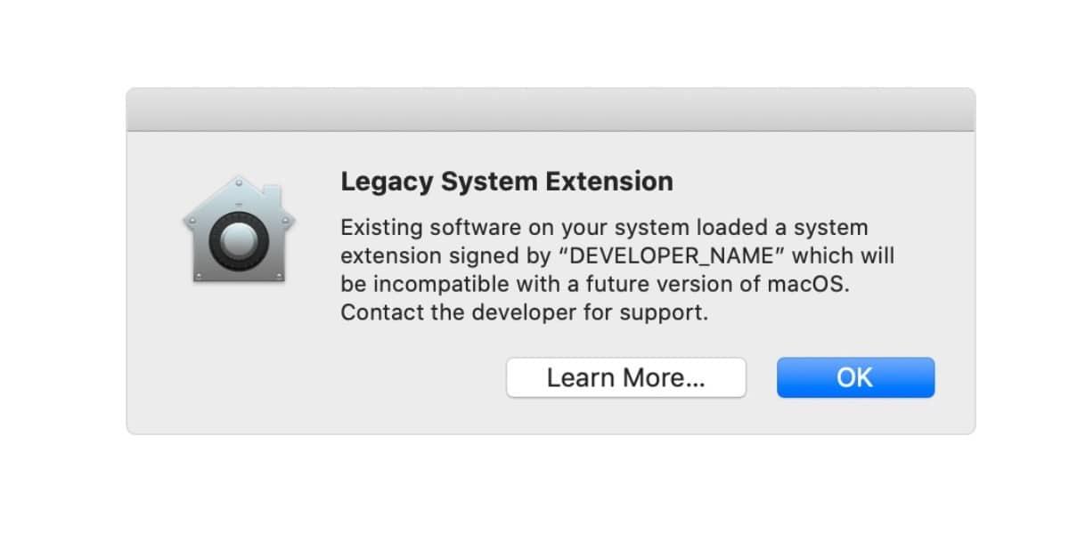 Mensaje avisando de incompatibilidades con macOS Big Sur
