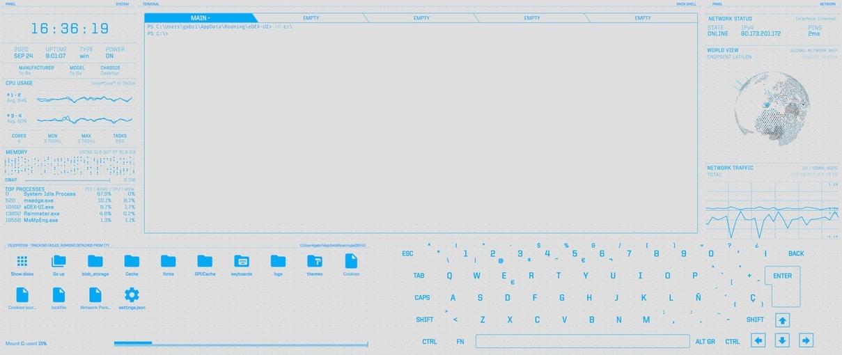 Con eDEX-UI perderemos el miedo a usar el terminal en Mac