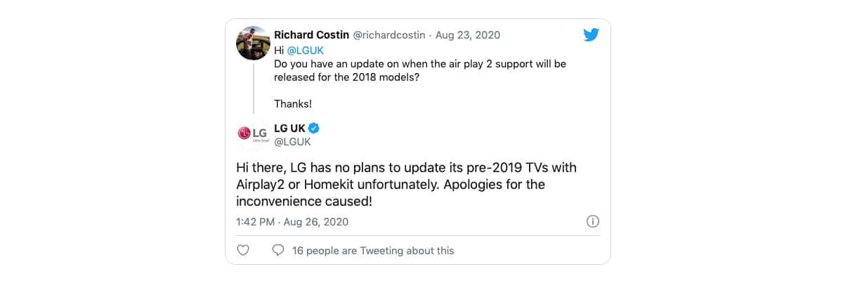 LG HomeKit y AirPlay 2