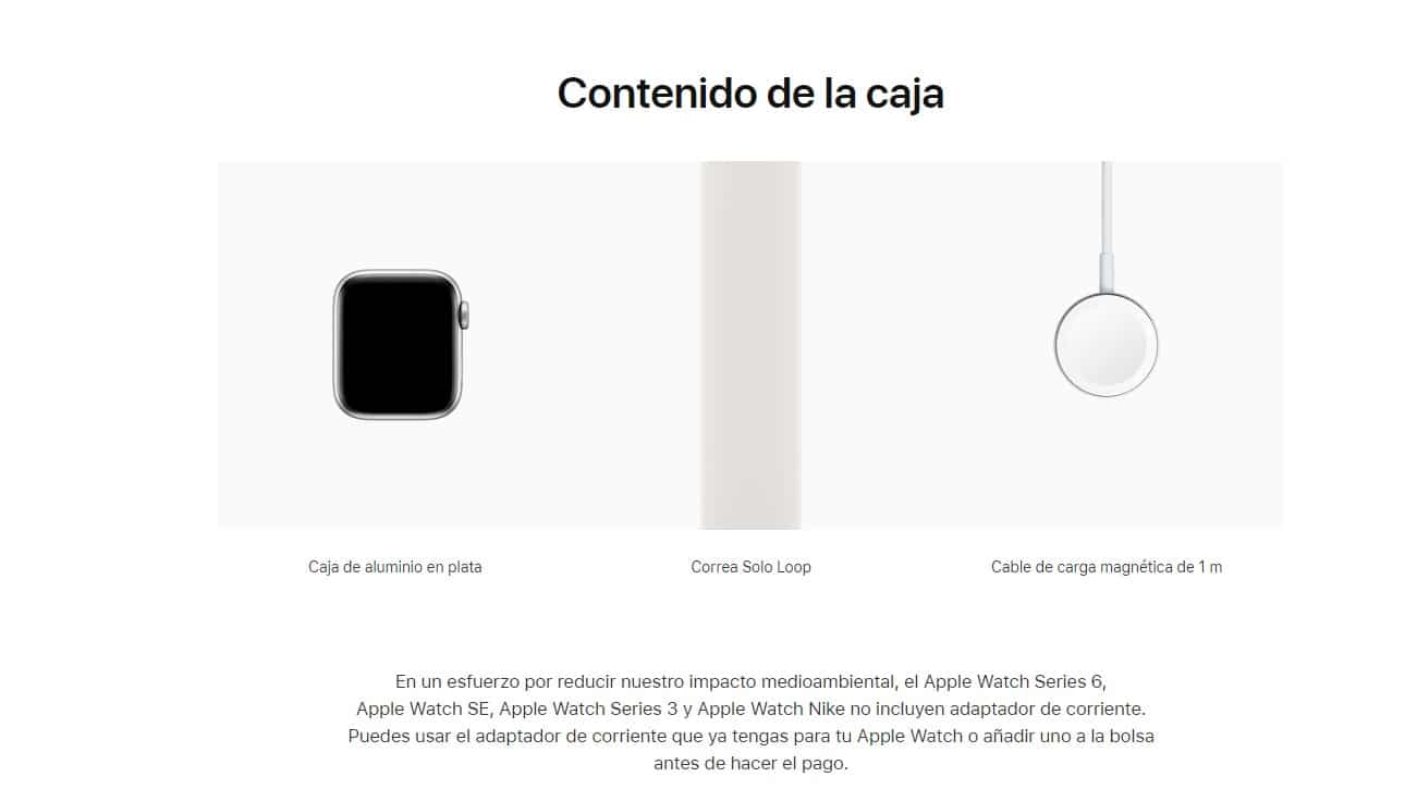 Apple Watch serie seis sin adaptador de corriente
