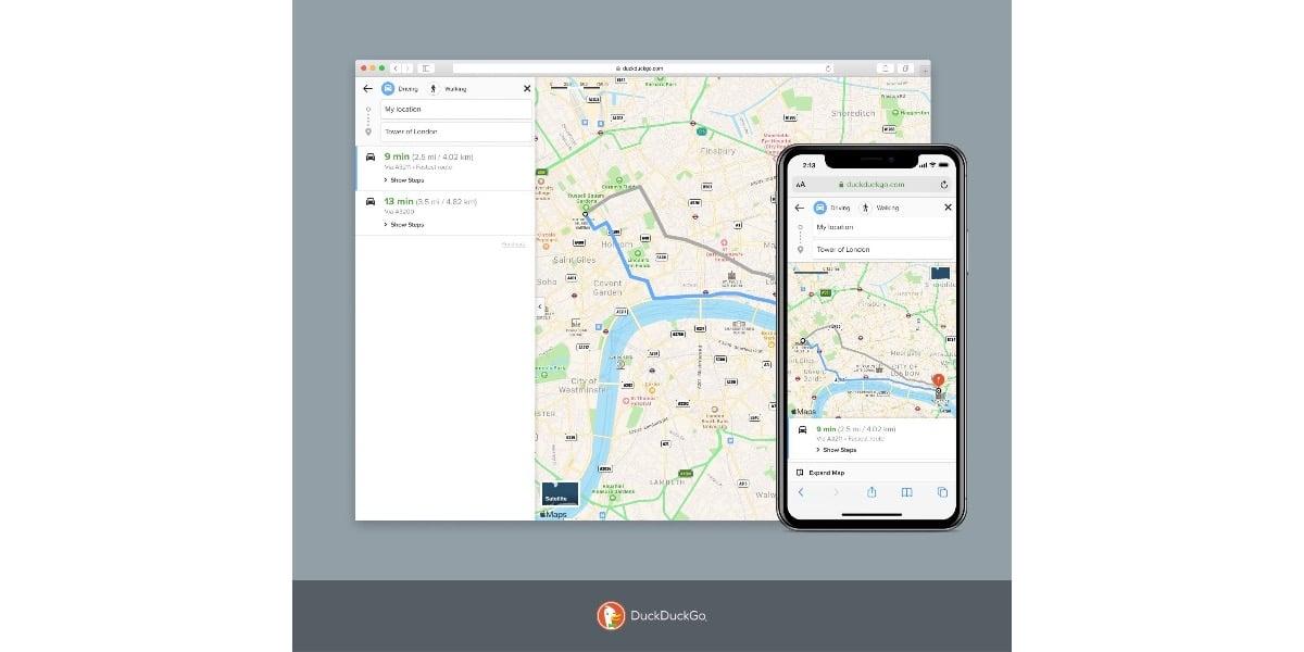 DuckDuckGo se integra con Apple Maps y nos indica el camino a seguir