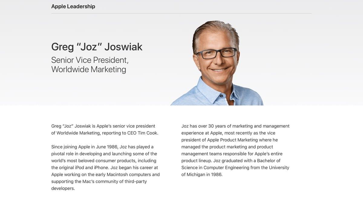 Greg Joswiak ya es oficialmente vicepresidente de marketing en Apple