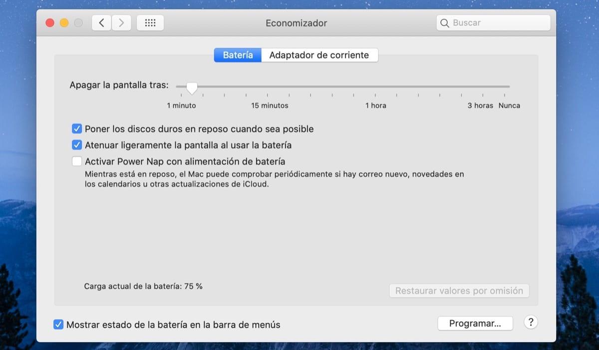 Economizador en MacBook