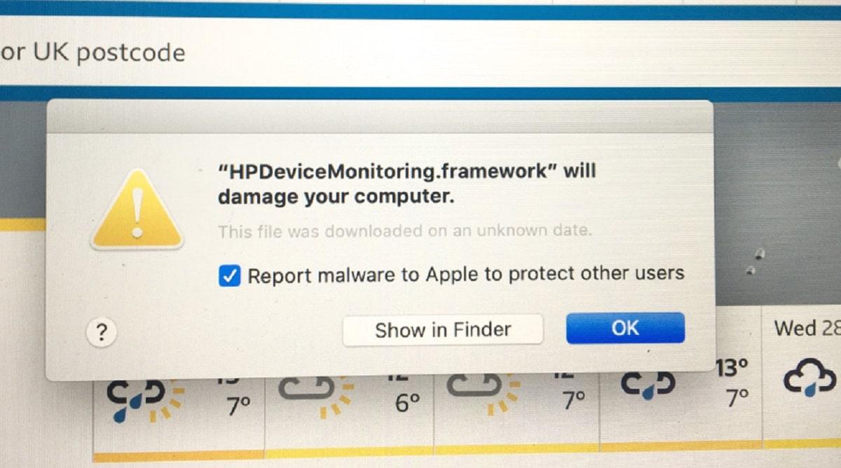 macOS error en malware archivos de HP