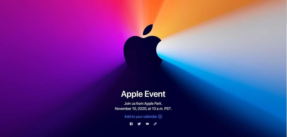 Evento de Apple en Noviembre de 2020