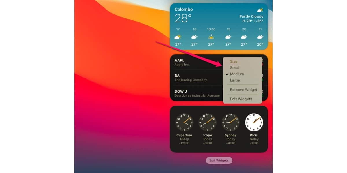 Widgets en macOS Big Sur