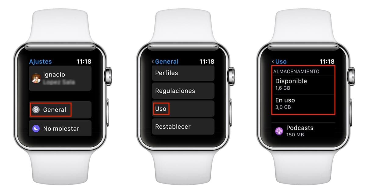 Apple Watch almacenamiento
