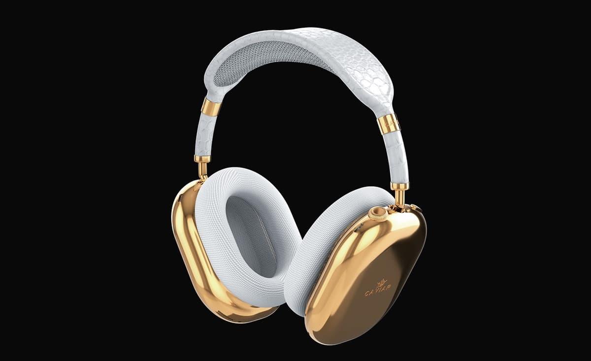 AirPods Max de color blanco en oro