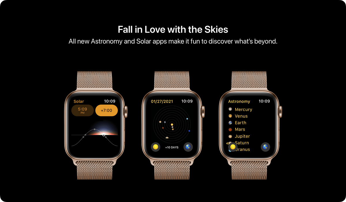 En el concepto de watchOS ocho se verían por separado las aplicaciones solar y astronomía