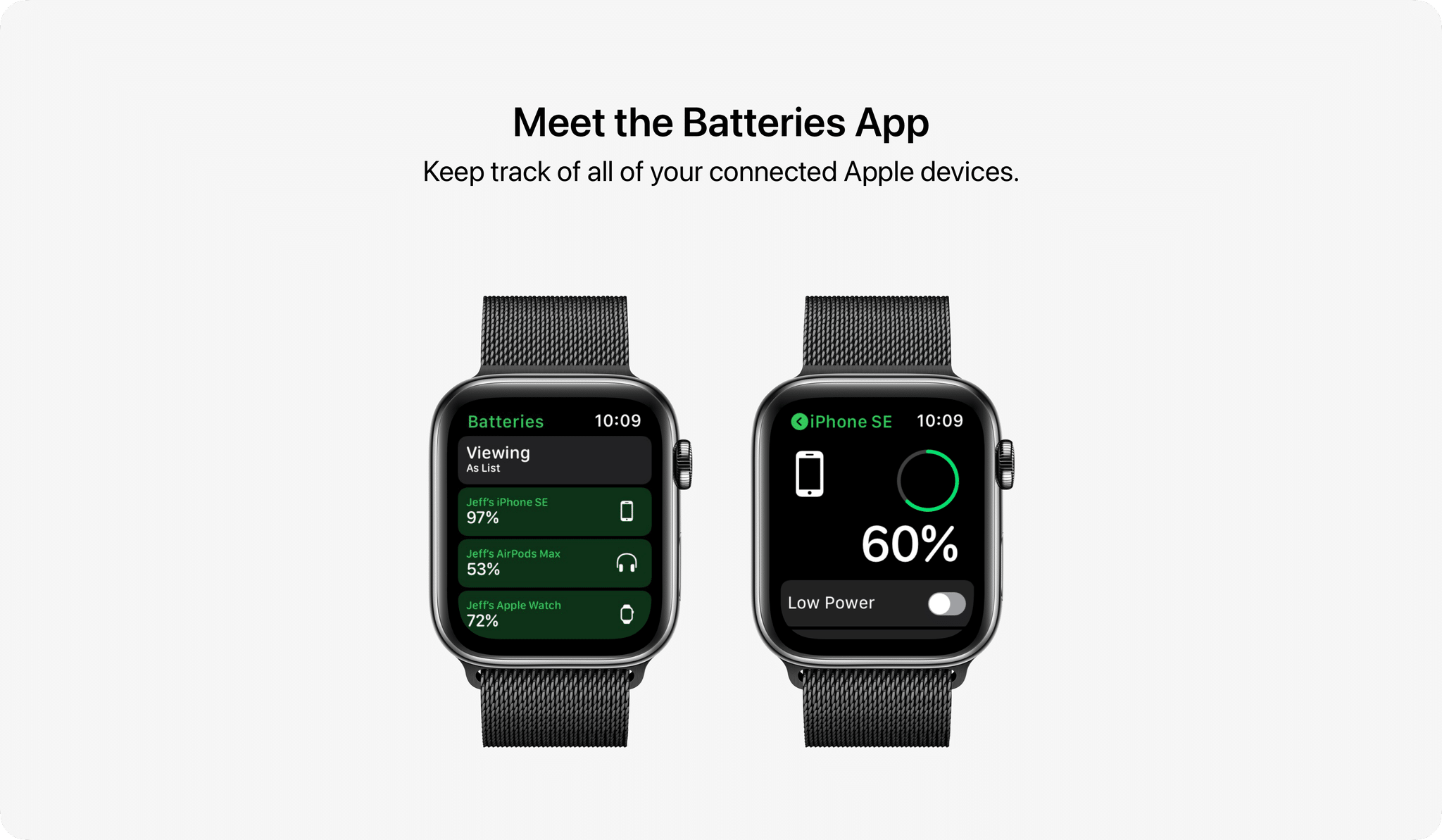 Nueva aplicación de batería en concepto de watchOS 8